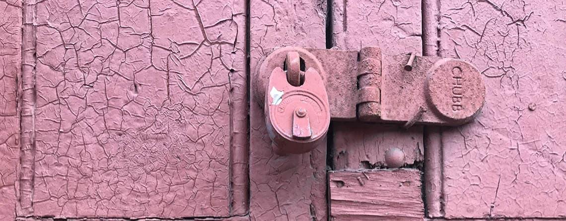 Pink locked door